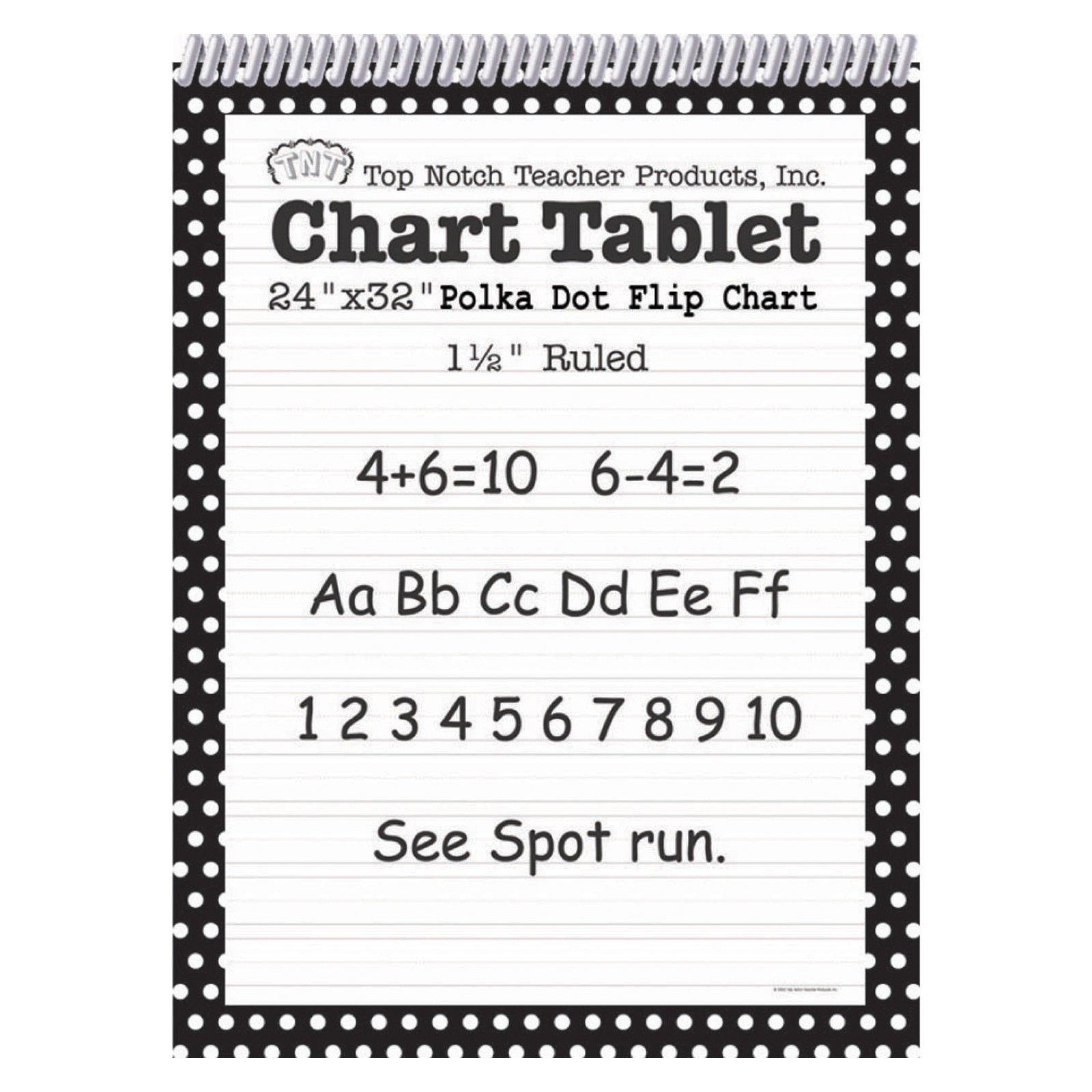 Top Notch Teacher Products Chart Tablet Polka Dot (1 1/2'' Ruled), Black, 24'' x 32''