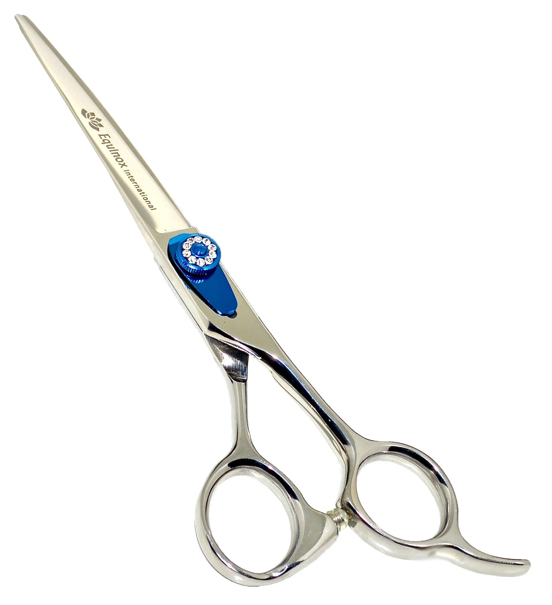 Equinox Professional Razor Edge Series - Barber Hair Cutting Scissors/Shears - 6.5'' Overall Length - Beautiful White Diamond Stones with Blue Chromium Fine Adjustment Tension Screw by Equinox International (Image #1)
