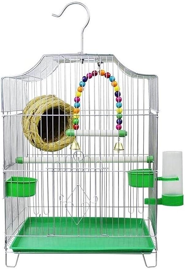 NOCEVCX Casas de pájaros/Artículos for Mascotas Jaula de pájaros de Estilo Económico Inicio Jaula de pájaro Viene con 2 Cuencos for su Comida y 1 Bebida Las jaulas de Aves Fuente de pequeños pájaros