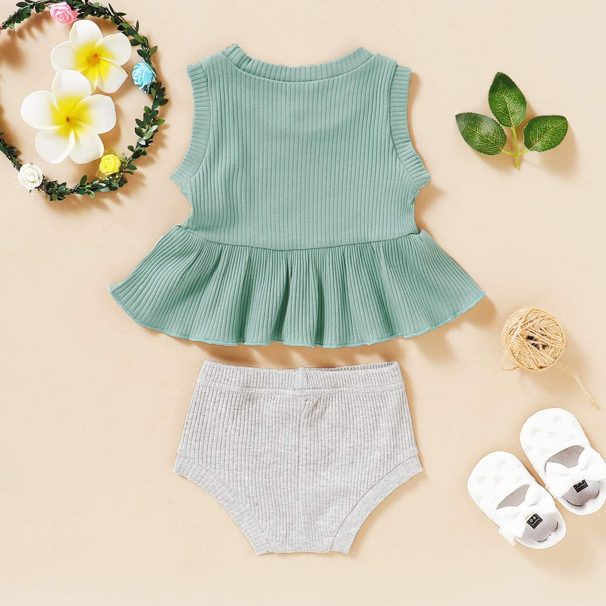 Toddler Baby Girl Clothes Summer Outfits Short Sleeve Cotton Tops Solid Shorts Infant Baby Girl Outfits Set