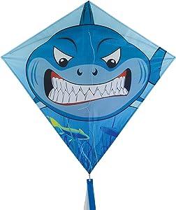 In the Breeze Shark 30 Inch Diamond Kite - Single Line - Includes Kite Line and Bag - Fun Printed Design