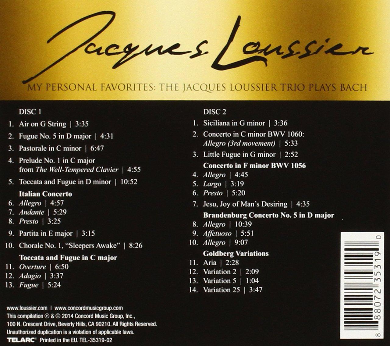 My Personal Favorites: The Jacques Loussier Trio Plays Bach: Jacques Loussier: Amazon.es: Música
