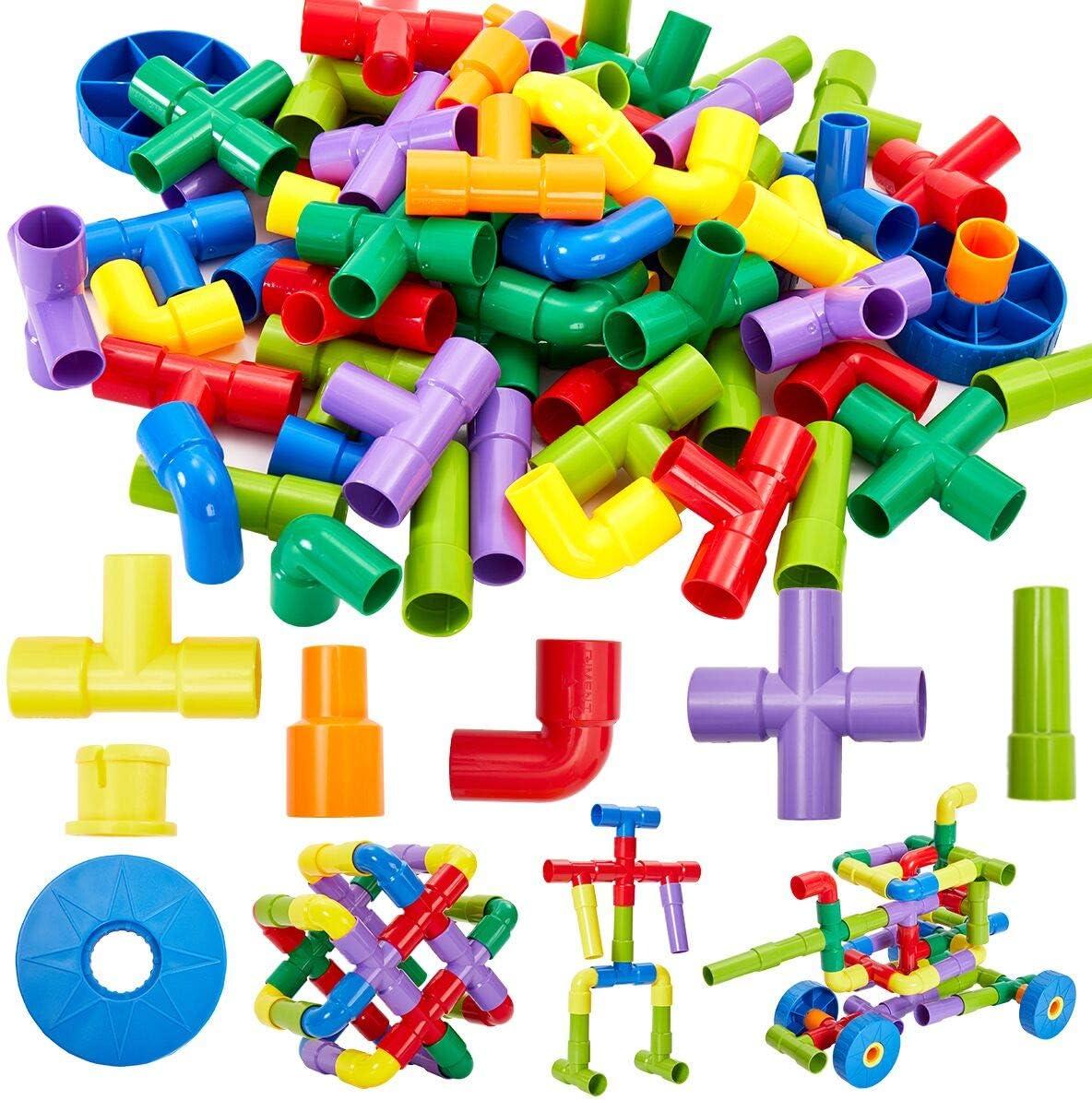 Onshine 72 Piezas Juego de Construcción Bloques de Tubo Puzzles Infantiles Juegos Educativo Regalo Juguetes para Niños 3 Años
