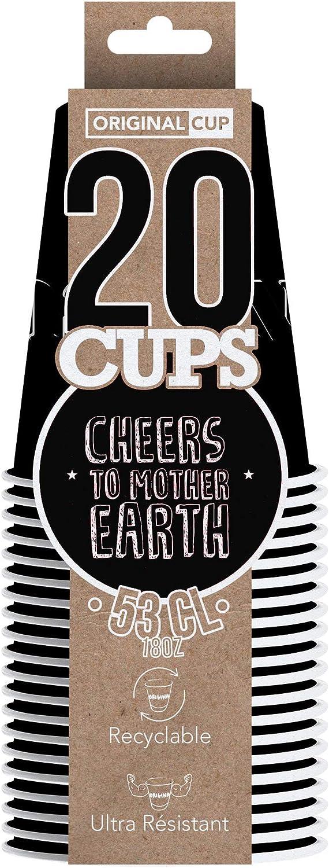 20 x Gobelets Am/éricains en Carton 53 cl Soir/ée Beer Pong Noir Original Cup