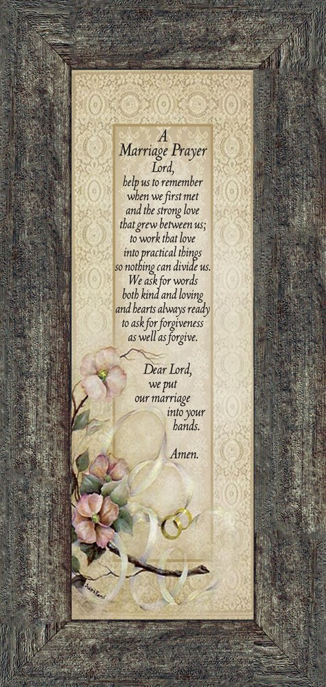 Marriage Prayer, Christian Marriage Gift, Frame Wedding Gift, 6x12 7757BW