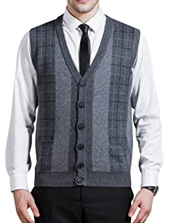 4a56d97e10 Zicac Men s Business V-Neck Assorted Color Knitwear Vest Cardigan Sweater