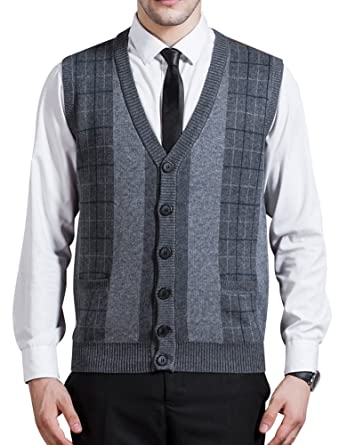 4820898285 Zicac Men s Business V-Neck Assorted Color Knitwear Vest Cardigan Sweater  (XL