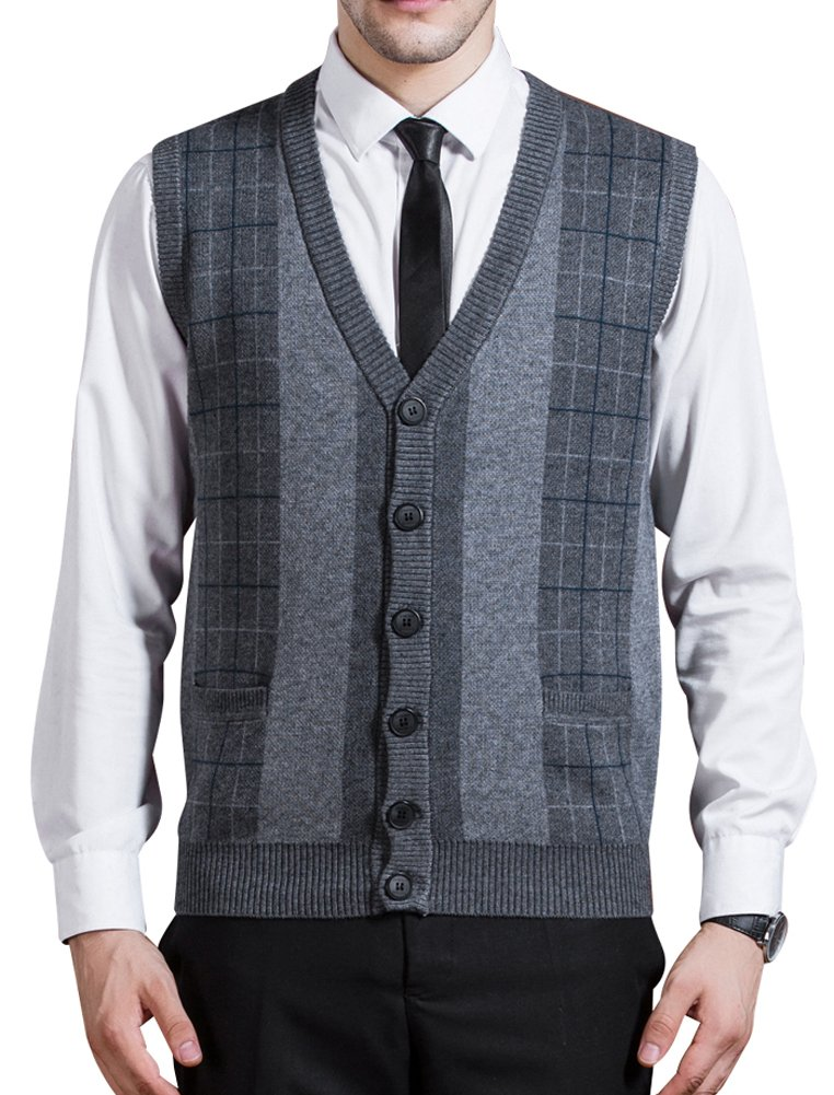 Zicac Men's Business V-Neck Assorted Color Knitwear Vest Cardigan Sweater (XL, Thick Style - Dark Grey) by Zicac