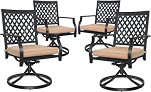 4-Piece Outdoor Swivel Dining Chair 300 pounds with Cushion Metal Support for Garden Backyard Poolside Classic Black