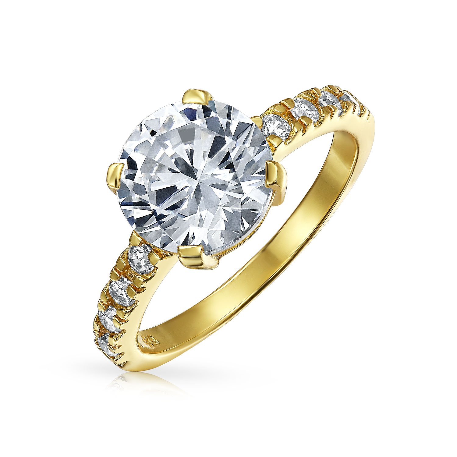 b20bf85a8 4 CT Round Brilliant Solitaire CZ Cubic Zirconia Engagement Ring Thin Pave  Band 14K Yellow Gold Plated Sterling Silver | Amazon.com