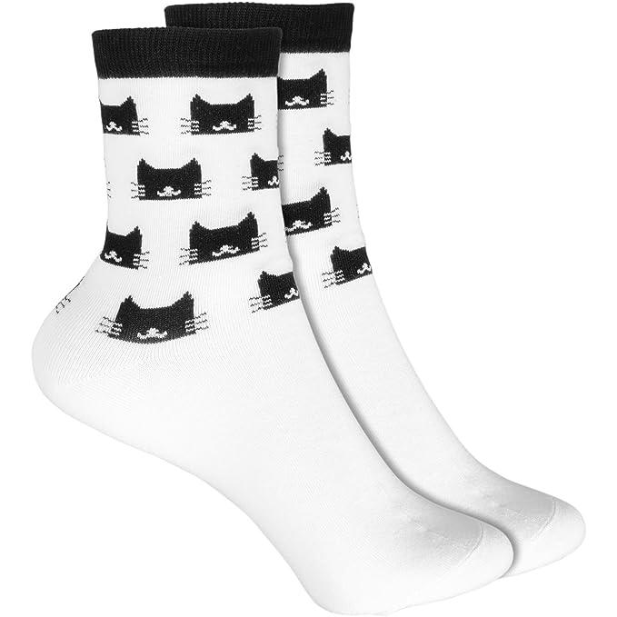 cosey- Calcetines de lana para hombres y mujeres - caras de gato - blanco (33-42) - 4 pares: Amazon.es: Ropa y accesorios