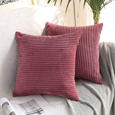 MIULEE Pack of 2 Corduroy Soft Soild Decorative Square Throw Pillow Covers Cushion Cases Pillow Cases for Couch Sofa Bedroom Car 18 x 18 Inch 45 x 45 cm