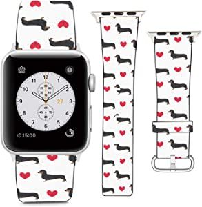 nobrand (Dachshund Dog and Love Heart) Patterned Leather Wristband Strap Compatible with Apple Watch Series 5/4/3/2/1 gen,Replacement for iWatch 38mm / 40mm Bands