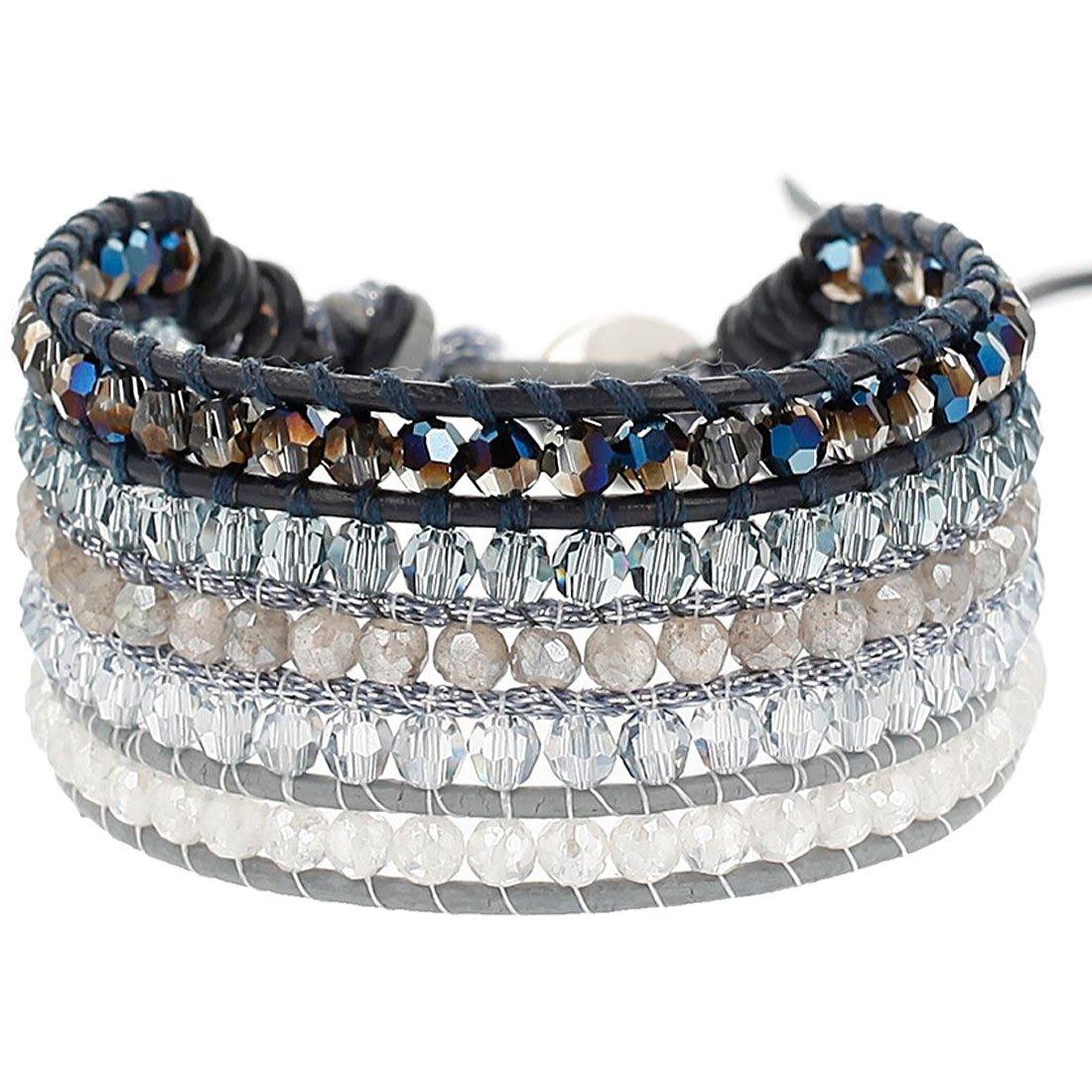 Chan Luu Crystal and Labradorite Beaded Cuff-Style Bracelet by Chan Luu