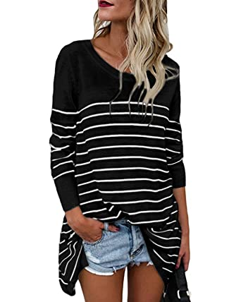 c47b0df0519308 CNFIO Womens Long Sleeve Striped Tops Tunic Shirt Loose Fit Oversized  Blouses Tops (S,