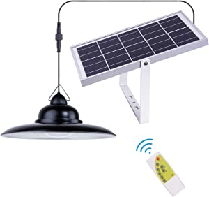 Solar Outdoor Lights, ESANDA Hanging Waterproof Solar Led Barn Lamp Remote Control 32.8Ft Cord with Adjustable Lighting Color for Shed Patio Home Decorate (1 Set)