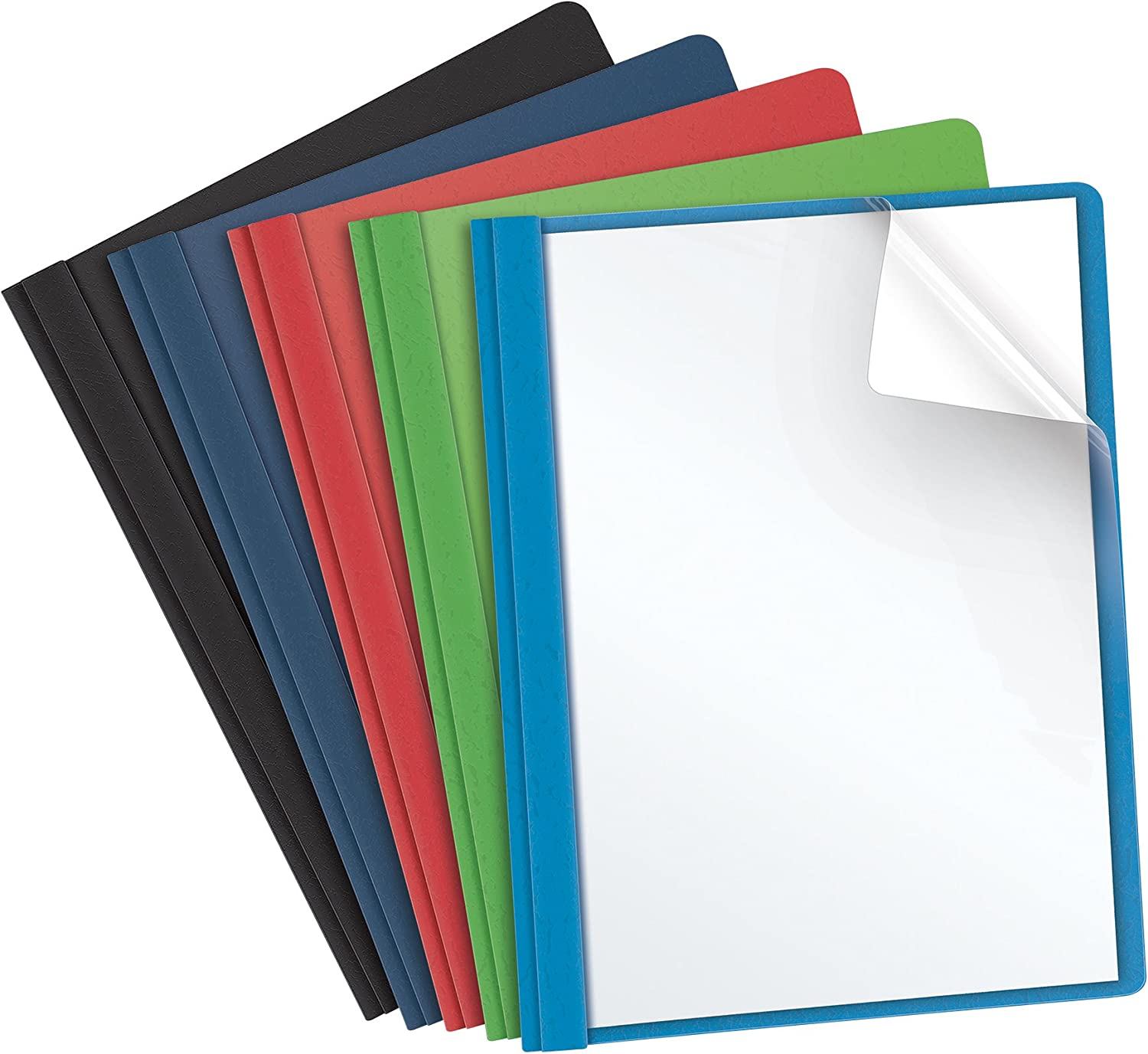 Oxford Clear Front Report Covers, Assorted Colors, Letter Size, 25 per Box (55813EE) : Business Report Covers : Office Products