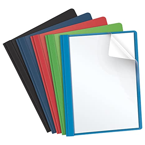 amazon com oxford clear front report covers assorted colors