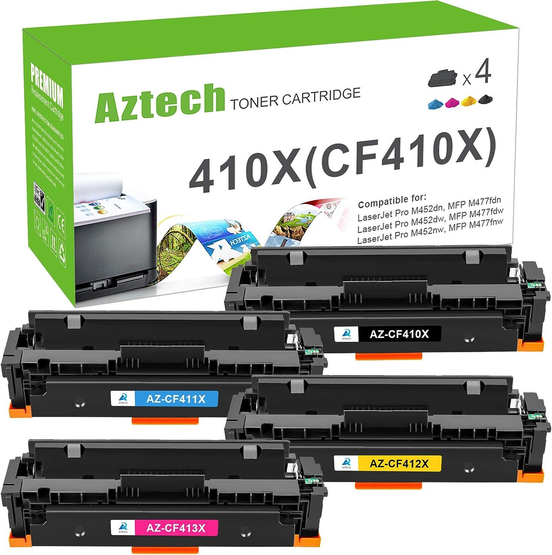 Aztech Compatible Toner Cartridge Replacement for HP 410X CF410X 410A Color Laserjet Pro M477fdw M477fnw M477fdn M452dn M452dw M452nw CF411X CF412X CF413X Printer (Black Cyan Yellow Magenta, 4-Pack)