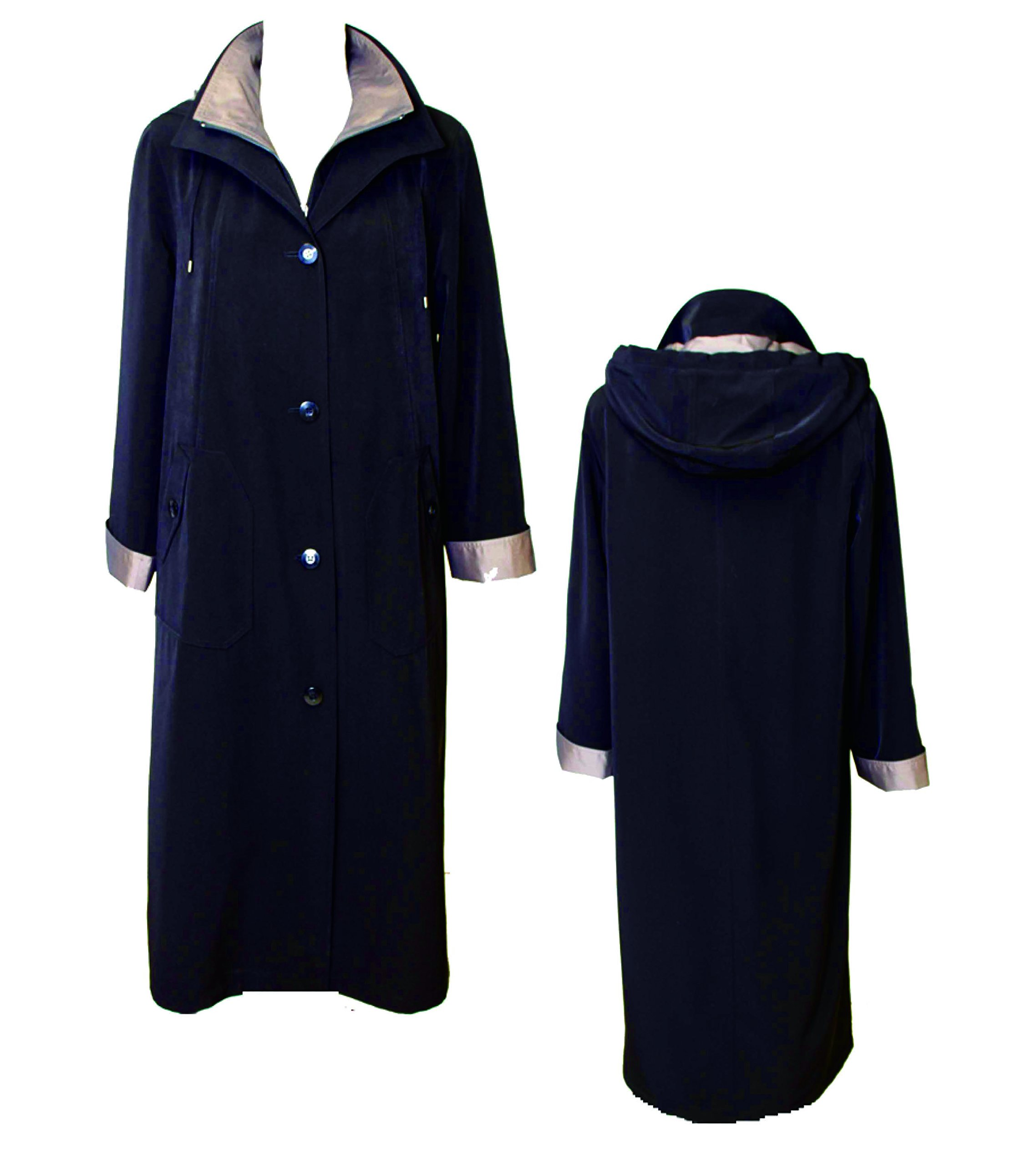 Gallery Women's Full Length Button Front Raincoat, Detachable Hood, Black, X Large by Gallery