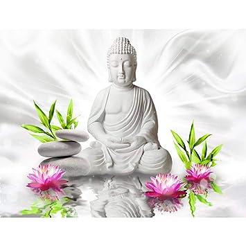 Fototapete Buddha Blumen - Vlies Wand Tapete Wohnzimmer Schlafzimmer ...