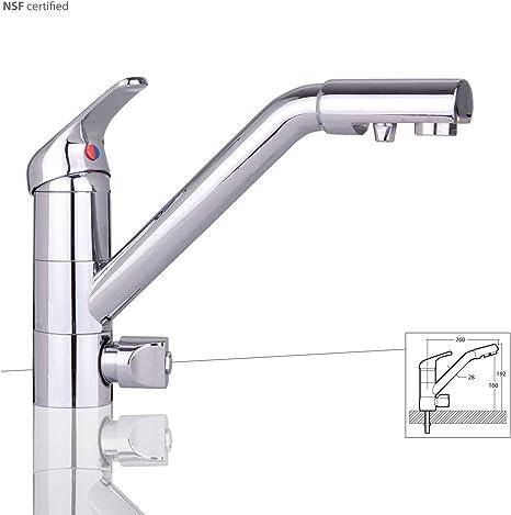 De tres vías de agua grifo Jupiter, cromo para filtro de agua bajo mesa Adecuado. Grifo de cocina, Grifo, Grifo, Grifo (3 Vías, agua para Ósmosis Instalaciones Instalaciones De Agua Potable: Amazon.es: