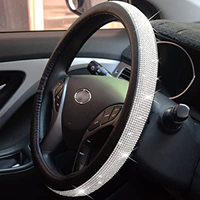 FEENM Steering Wheel Cover Bling Bling Rhinestones Crystals Car Handcraft Steering Wheel Covers Leather for Girls Silver: Automotive