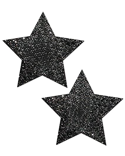 0c398a8ec8eb iHeartRaves Pastease Black Glitter Star Rave Pasties (Set of 2 Pasties)