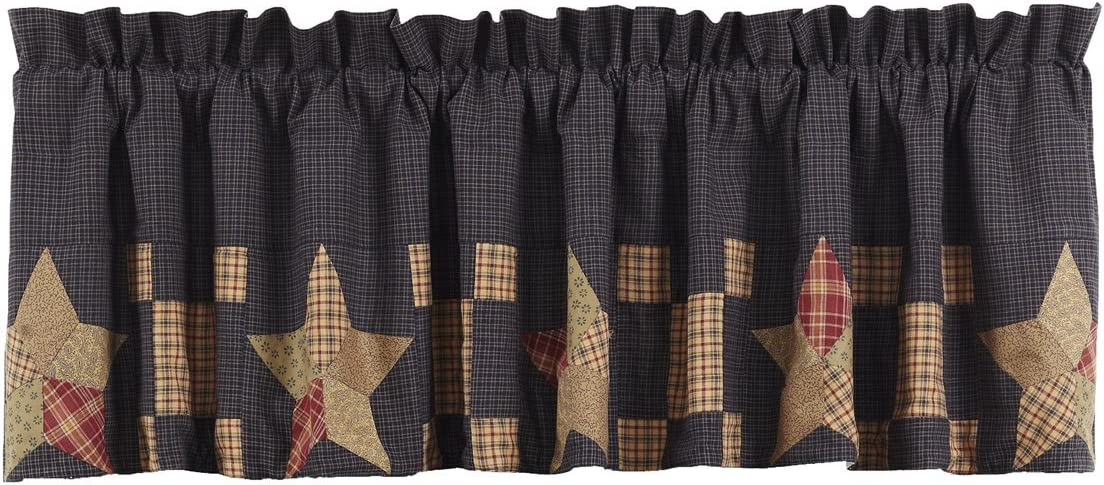 VHC Brands Americana Classic Country Kitchen Window Curtains – Arlington Tan Block Border Valance