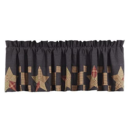 VHC Brands Americana Classic Country Kitchen Window Curtains Arlington Tan  Block Border Valance