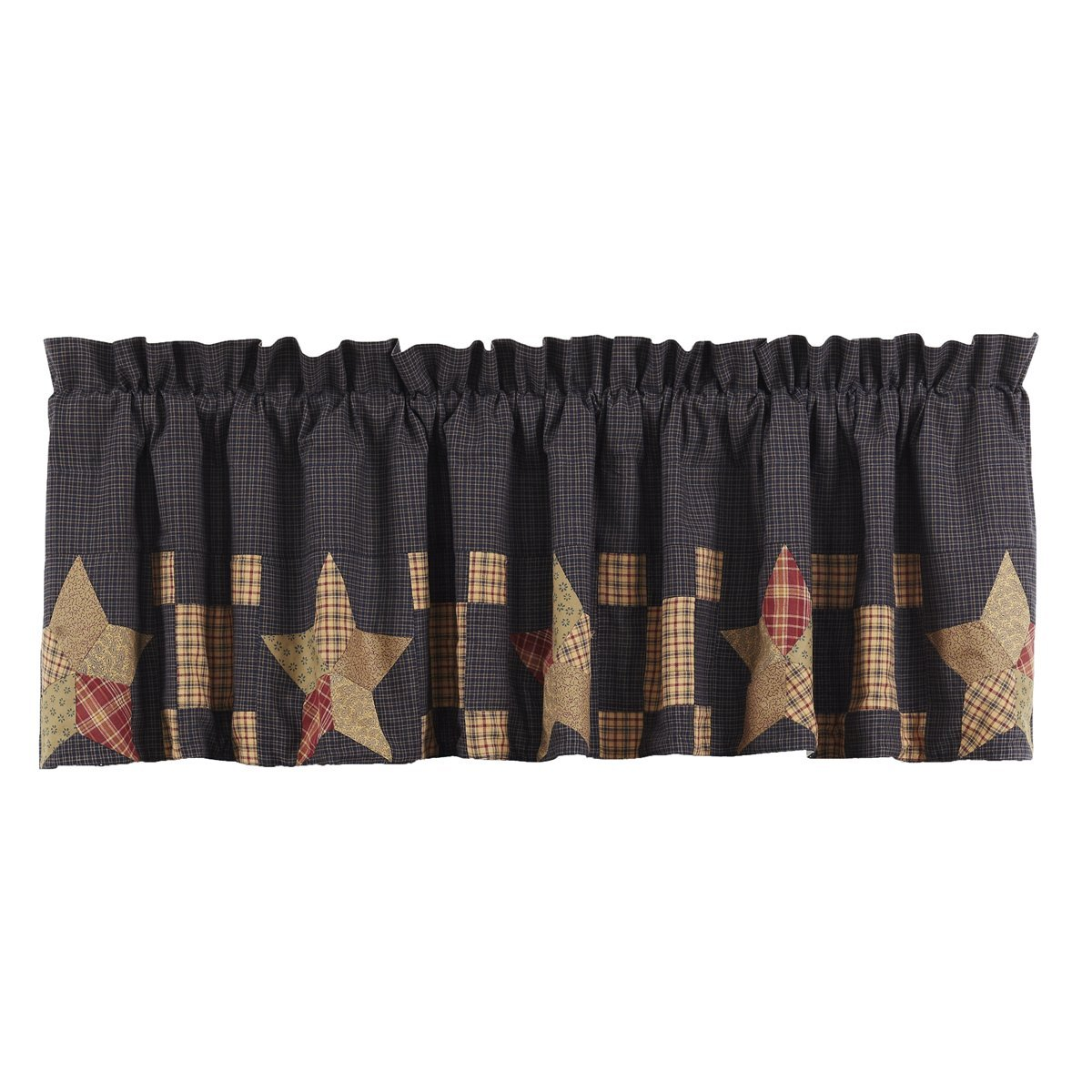 VHC Brands Americana Classic Country Kitchen Window Curtains-Arlington Tan Block Border Valance
