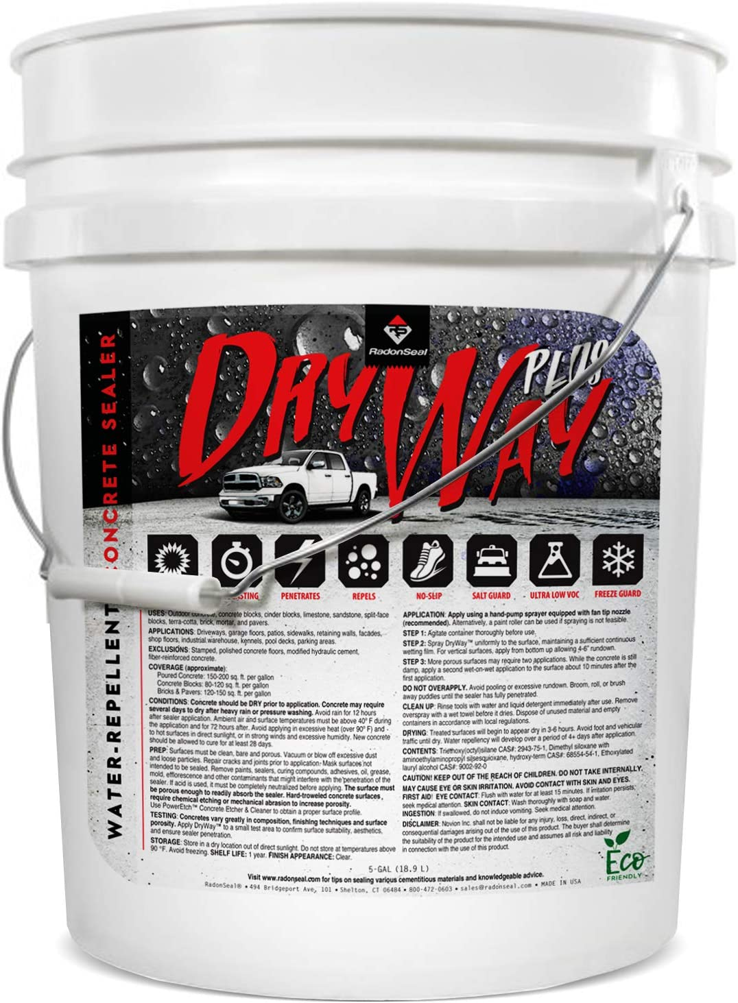 DryWay Plus - Water-Repellent Concrete Sealer. Penetrating Water-Based Sealer for Concrete Driveways, Patios, Sidewalks, & Pool Decks. No Gloss. Salt, Freeze/Thaw, Stain Protection (5-Gal)