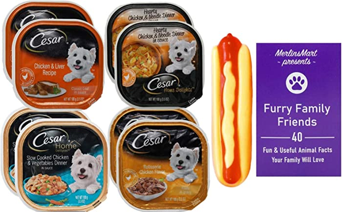 Cesar Chicken Dog Food 4 Flavor 8 Can Variety (2) Each: Chicken Liver, Chicken Noodle, Chicken Vegetables, Rotisserie Chicken (3.5 Ounces) - Plus Squeak Toy and Fun Facts Booklet Bundle