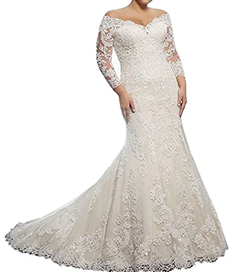 87acdab6c7 Alanre Women s Lace Bride Gown Mermaid Sheer Long Sleeves Wedding Dress  Ivory 2
