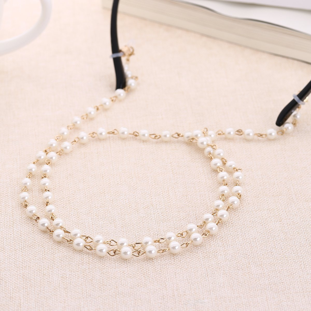Tinksky Pearls Bead Eyeglass Chain Strap Sunglass Holder Lanyard Necklace Spectacles Holder Sunglasses Neck Cord Strap