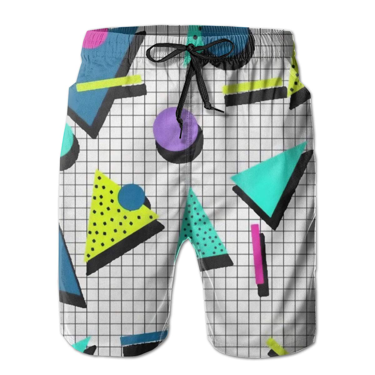 Airealy Men/'s Summer Beach Trunks 80s Pattern Drawstring Elastic Waist Quick Dry Surfing Beach Board Shorts