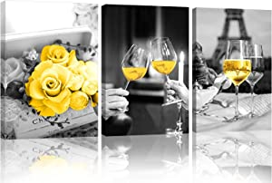 Yellow Kitchen Decor Kitchen Wall Decor Kitchen Wall Art Wine Decor for Kitchen Dining Room Decor Black and White Wall Art Framed Canvas Prints Artwork Paintings for Home Bedroom Decorations (yellow 01, 12inX16inX3(30cmX40cmX3))