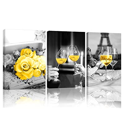 Buy Yellow Kitchen Decor Wine Decor Kitchen Wall Decor Kitchen Wall Art Dining Room Decor Black And White Wall Art Framed Canvas Abstract Prints Artwork Paintings For Home Restaurant Bedroom Decorations Online