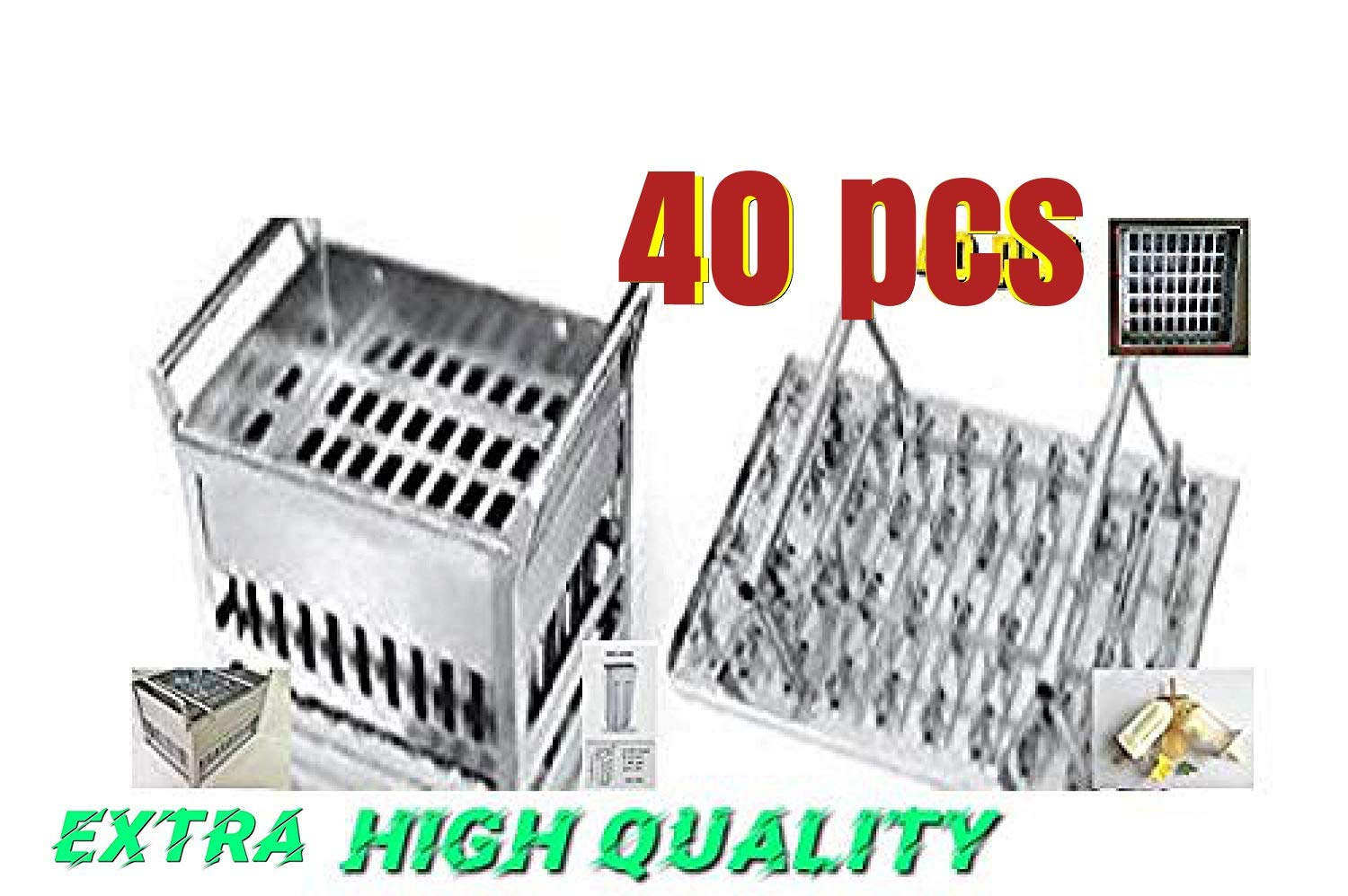 40pcs stainless steel popsicle mold machine -ice pop molds bpa free -ice Cream Mold pop molds popsicle molds stainless steel-ice pop maker molds Ice Lolly Ice Cream Pops(40 popsicle mold basket 80ml)