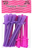 Happy Dueks-Bachelorette Party Drinking Penis Straws Disposable,20 PACK Pink&Purple Dick Straws,Great For Bridal Party Decoration&Hen Parties&Party Favors,Best Bachelorette Party Supplies