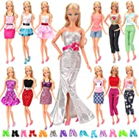 Barwa Lot 20 Items 10 Set Fashion Handmade Clothes Outfit 10 Pairs Shoes for Barbie Doll