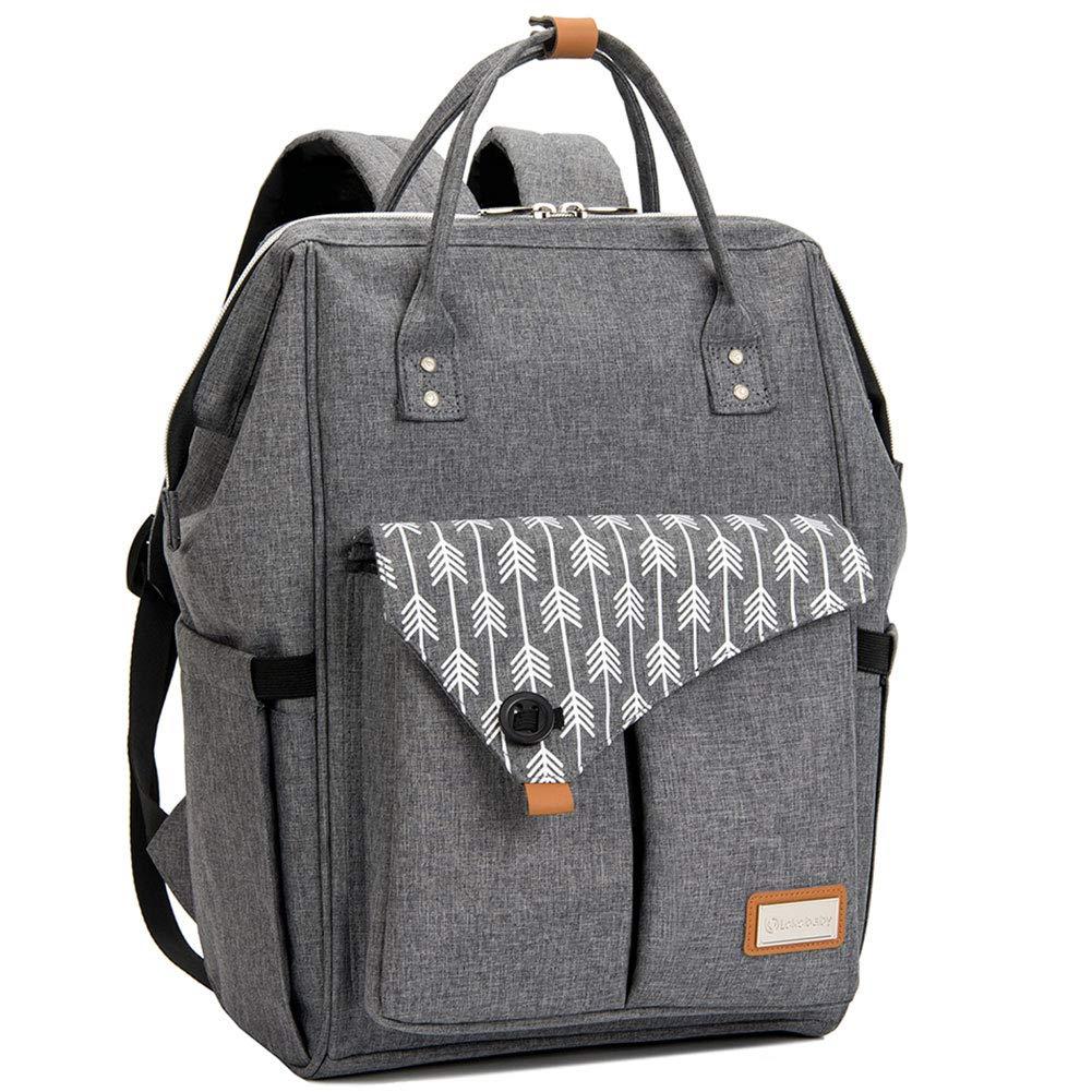 Lekebaby Large Diaper Bag Backpack for Mom in Grey with Arrow Print by Lekebaby