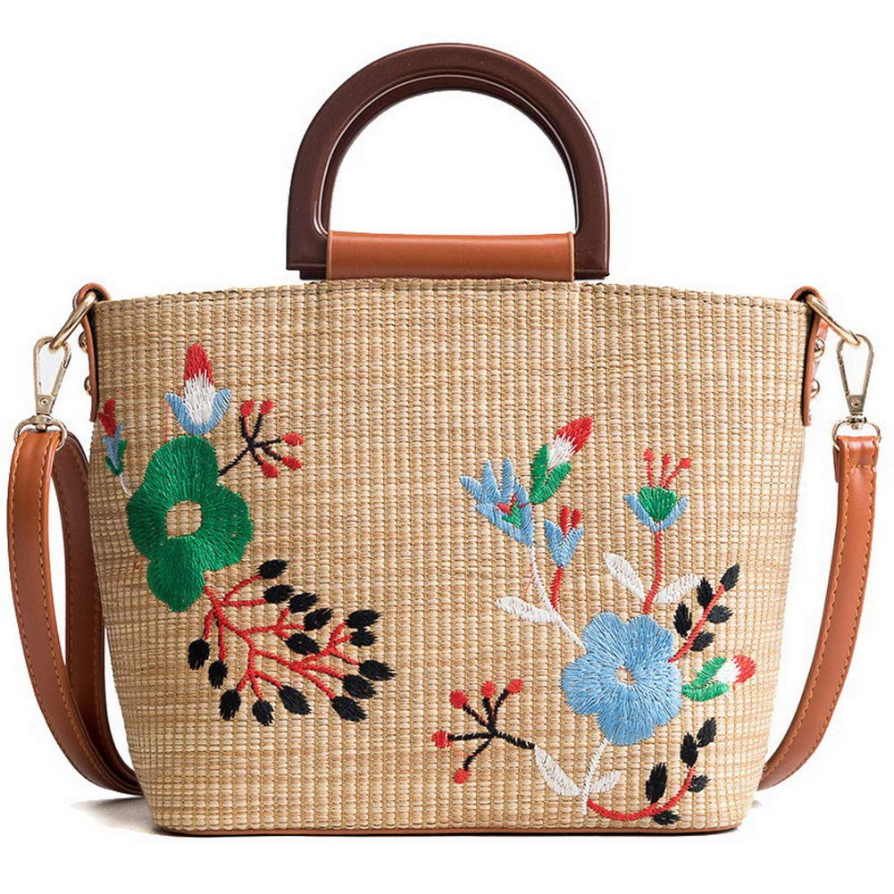 Brown WeiPoot Women's Linen Tote Bags Shopping Embroidered Crossbody Bags,EGHBG182436