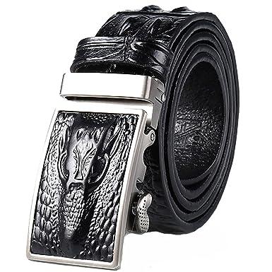 Ceinture en cuir de crocodile pour hommes Ceinture sauvage en acier pur  boucle de boucle européenne et américaine de luxe pour hommes pas de  couture ... ec92dcf5c73