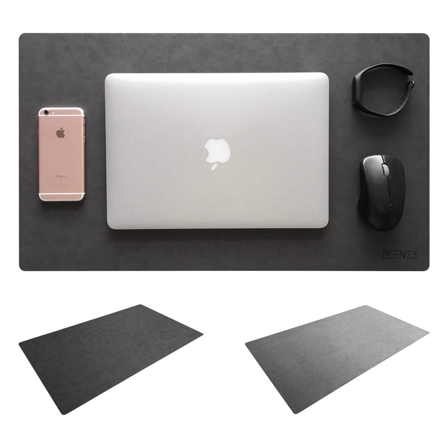 Leather Desk Mat & Mate 24 x 14 Non-Slip Smooth Writing Desk Pad Protective Mat Protector Mouse Pad for Desktops and Laptops (Dark Grey) Haitu FBA_pl-005