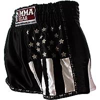 World MMA Gear Black Muay Thai Shorts Handmade Retro Design Thai Boxing Shorts for Men with US Flag Decoration