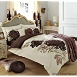 3PC KEW CREAM & NATURAL KING SIZE BEDDING BED DUVET COVER QUILT SET WITH PILLOWCASES by ZEDWarehouse