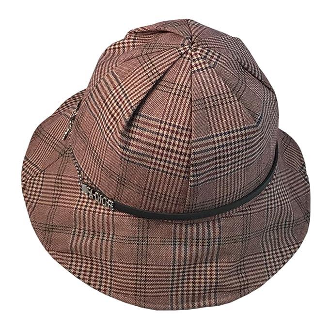 237cc49341058f ACVIP Women's Plaid PU Band Bucket Hat Summer Sun Protection Cap (Color ...