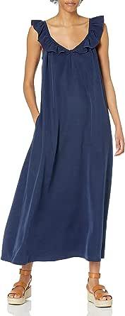 The Drop Vestido para Mujer, Maxi, con Escote en Pico y Volantes, Azul Marino, por @graceatwood
