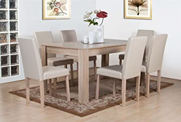 Dover White Oak Effect Wooden Dining Table and 6 High Back Chair Set ...
